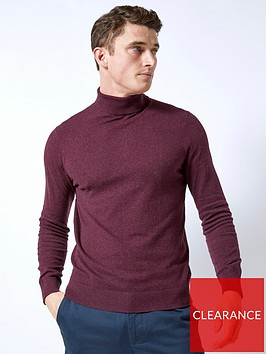 burton-menswear-london-roll-neck-jumper-burgundynbsp
