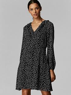 wallis-wallis-petite-blush-spot-ruffle-frill-front-dress