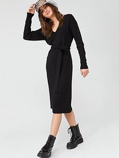 v-by-very-tie-waist-v-neck-knitted-dress-black