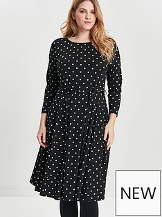 evans-evans-black-and-white-spot-fit-and-flare-dress