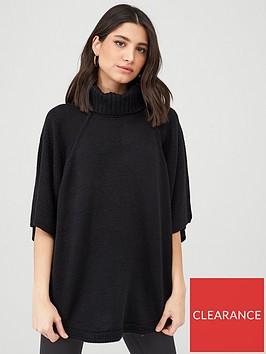 v-by-very-high-neck-knitted-poncho-black