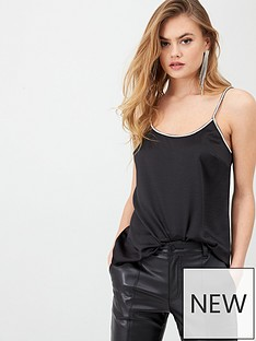 river-island-river-island-satin-diamante-trim-cami-top-black