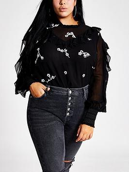 ri-plus-ri-plus-daisy-embroidered-frill-blouse-black