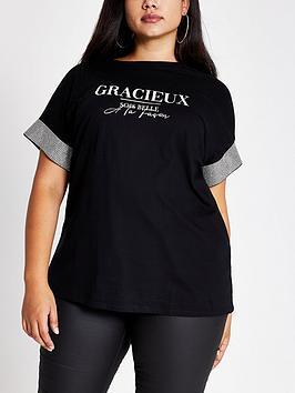 ri-plus-ri-plus-printed-diamante-sleeve-t-shirt-black