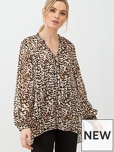 wallis-tortoise-print-shirt-brown
