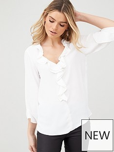 wallis-plain-ruffle-blouse-ivory