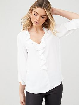 wallis-plain-ruffle-blouse-ivory