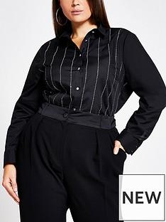 ri-plus-sequin-stripe-shirt-black