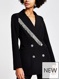 ri-petite-diamante-fringe-blazer-black