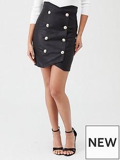 river-island-river-island-pu-high-waist-button-detail-skirt-black