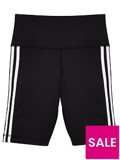 adidas-junior-girlsnbsptrefoil-3nbspstripe-shorts-black