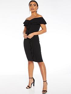 quiz-scuba-crepe-bardot-double-frill-midi-dress-black
