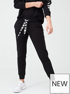 dkny-sport-two-tone-logo-cuffed-joggers-black
