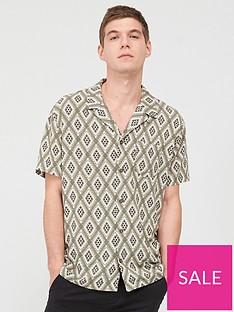 v-by-very-short-sleeved-diamond-tile-printed-shirt-khaki