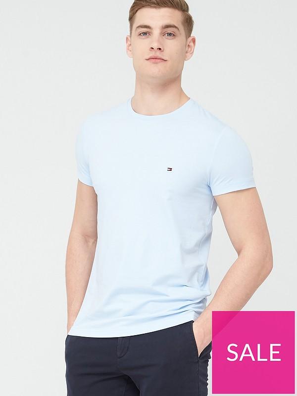 Tommy Hilfiger Mens Stretch Slim Fit T-Shirt Blue