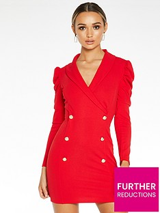 quiz-scuba-crepe-ruche-long-sleeve-bodycon-dress-red