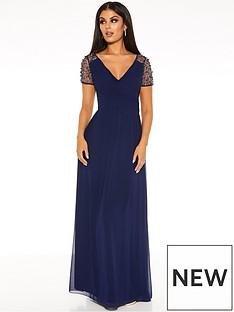 quiz-chiffon-wrap-embellished-cap-sleeve-maxi-dress-navy