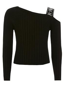 river-island-girls-one-shoulder-ribbed-t-shirt-black