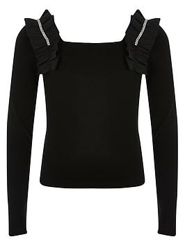river-island-girls-ruffle-embelished-top-black