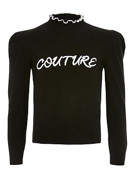 river-island-girls-couture-knitted-frill-jumper--black