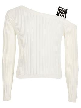 river-island-girls-one-shoulder-ribbed-t-shirt-white