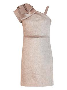 river-island-girls-one-shoulder-bow-dress-rose-gold