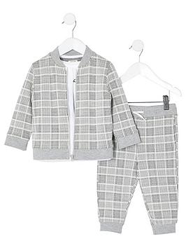 river-island-mini-mini-boys-3-piece-check-outfit-grey