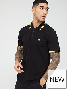 alpha-industries-twin-stripe-neon-tipping-polo-shirt-black