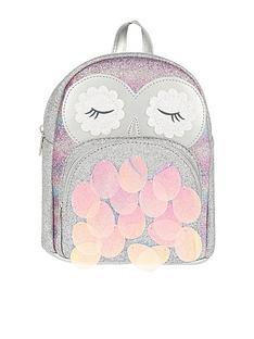 monsoon-girls-disco-owl-backpack-silver