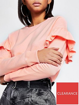 river-island-frill-sleeve-sweat--coral