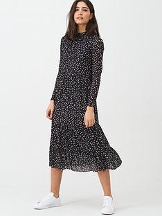 warehouse-spot-mesh-midi-dress-black