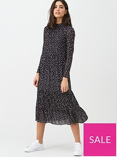warehouse-spot-mesh-midi-dress-black