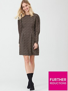 river-island-river-island-textured-cinched-waist-mini-dress-brown