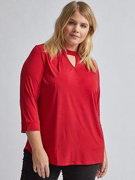 dorothy-perkins-dorothy-perkins-curve-pleat-neck-top-red