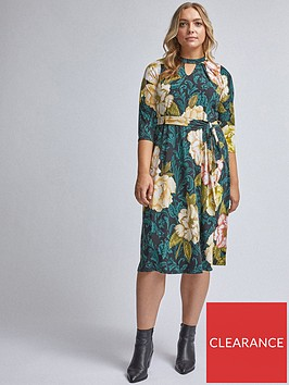 dorothy-perkins-dorothy-perkins-curve-floral-pleat-neck-dress-multi