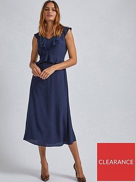 dorothy-perkins-navy-ruffle-midi-dress