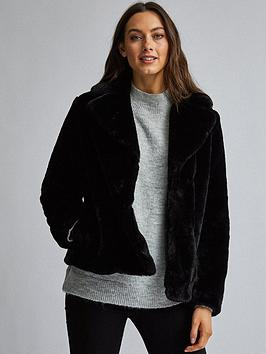 dorothy perkins dorothy perkins short plush faux fur coat - black