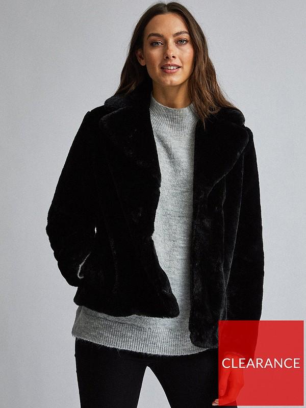 Dorothy Perkins Short, Ladies Black Fur Coat Dorothy Perkins