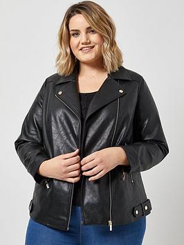 dorothy perkins dorothy perkins curve pu biker jacket - black