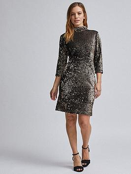 dorothy-perkins-dorothy-perkins-petite-black-amp-gold-sequin-midi-dress-blackgold