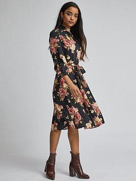 dorothy-perkins-petite-floral-fit-and-flare-dress-black