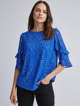 dorothy-perkins-dorothy-perkins-cobalt-foil-flutter-34-sleeve-top