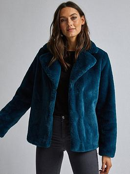 dorothy-perkins-dorothy-perkins-teal-short-plush-faux-fur-coat