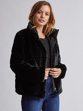 dorothy-perkins-dorothy-perkins-petite-black-shirt-carved-fur-jacket