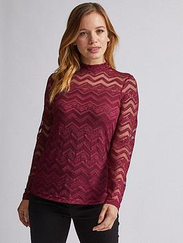 dorothy-perkins-dorothy-perkins-petite-red-lace-long-sleeve-top-red