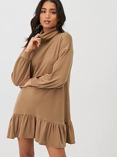 boohoo-boohoo-roll-neck-drop-hem-sweatshirt-dress-camel