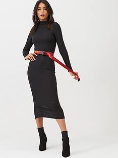 boohoo-boohoo-jumbo-rib-roll-neck-midi-dress-black