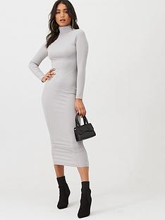 boohoo-boohoo-jumbo-rib-roll-neck-midi-dress-grey