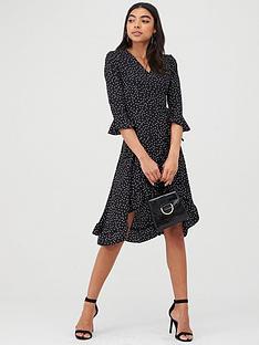 boohoo-boohoo-polka-dot-ruffle-wrap-midi-dress-black