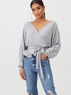 boohoo-boohoo-knitted-wrap-top-grey